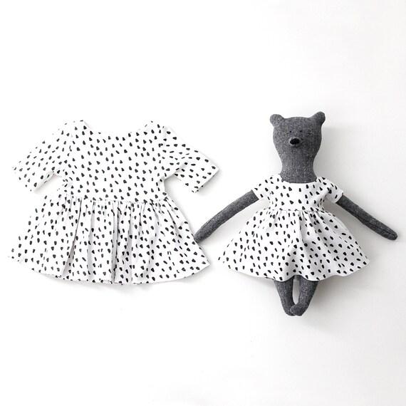 Jouet ours et bébé coton bio robe en imprimé Dalmatien
