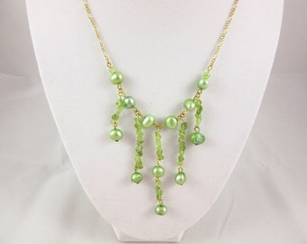Green Freshwater Pearl and Peridot Necklace Handmade 18 inch Gold Plated Birthstone Necklace August Birthstone Jewelry