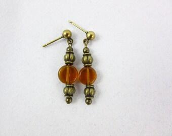 Brown Glass Earrings Handmade Antique Brass Dangle Earrings