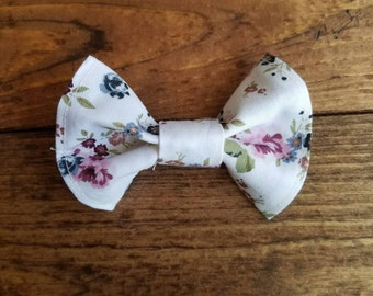 Floral print hair bow, pink and blue flowers