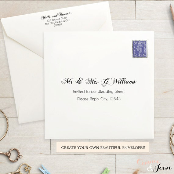 Printable Wedding 5.5x4.25 Envelope Template Invitation
