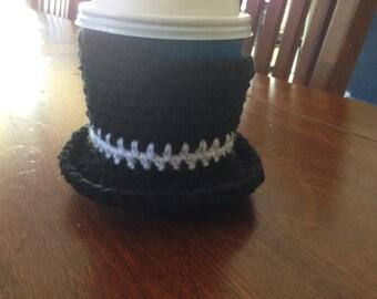 Handmade Crochet Top Hat Cup Cozy Cosy
