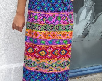 Vintage 1970 psychedelic skirt multi color print FREE SHIPPING from RCMooreVintage small size  boho hippie flower child maxi