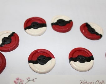 Pokeball Buttons X4 Set  Polymer Clay