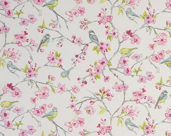 Studio G by Clarke & Clarke Garden Party Birdies Pink 100% Cotton Fabric