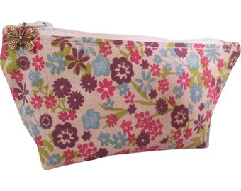 Tiny Blossoms Cosmetic Bag, Flat Pouch, Make-Up Bag