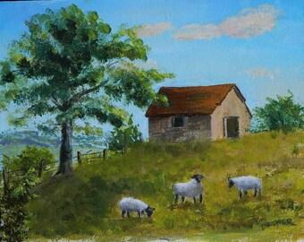 SHEEP ON A HILLSIDE,  Original Landscape, Farm Animals, Maine Art,Maine Art,Barn,Farm Painting,Sheep Painting