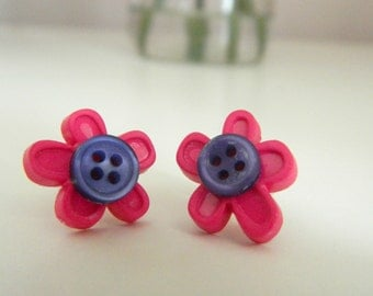 Polymer Clay Pink Flower Button Earrings