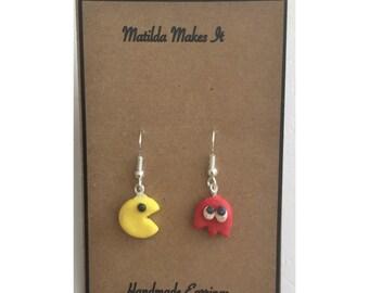 Handmade Pacman Polymer Clay Drop / Dangle Earrings