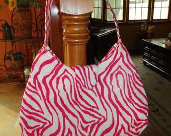 Zebra Pink and White Hobo Bag, Purse