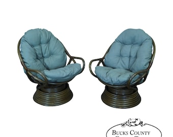 Quality Pair Of Rattan Swivel Rocking Lounge Chairs