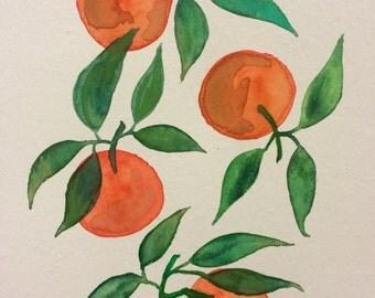 Tangerine Watercolor Original