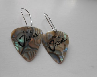 Pick Jesus Guitar Pic Earrings, Handmade, Jewelry, Beading, Music, Faith, Free Shipping, Gift
