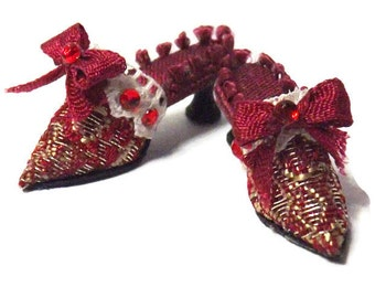 Handmade Miniature Red & Gold Silk Brocade Dolls House Shoes
