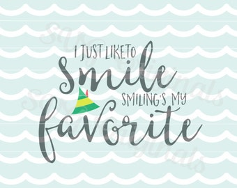 Smiling's My Favorite SVG I Just like to Smile SVG vector File. Merry Christmas Cricut Explore and more! Elf Hat