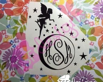 Fairy with Moon monogram decal
