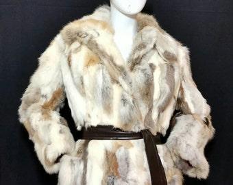 Vintage Fur Couture Rabbit Fur Coat/Rabbit Fur Origin France/1970s Colorful Fur Jacket/Retro Hippie Fashion/Disco Fashion