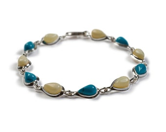 Turquoise, Milky Amber and Silver Teardrop Link Bracelet
