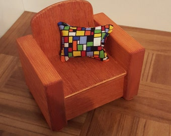 Stained 1:6 scale Chair/ 1/6 scale living room chair/ barbie size chair/ playscale chair/ doll house chair/ educational toy/ pretend play