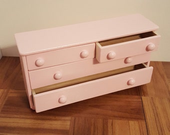 Pink 1:6 scale Bureau with real working drawers/ 1/6 scale drawers/ dollhouse room divider/ Doll storage/ barbie size shelves/ doll bedroom