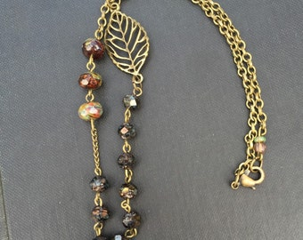 Beaded boho necklace, lovely earthy colors