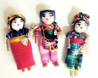 Worry Dolls, Refrigerator Magnet, Hand Made Magnet, Fridge Magnet, Tribal Dolls, Worry Doll, Magnet Set Of 3