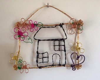 Wire Art 'Home'
