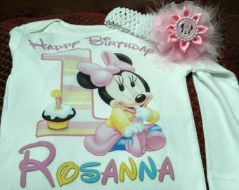 Minnie mouse Birthday tshirt, minnie mouse first birthday t-shirt