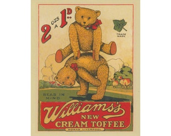 Williams New Cream Toffee Vintage Advertising Enamel Metal TIN SIGN Wall Plaque