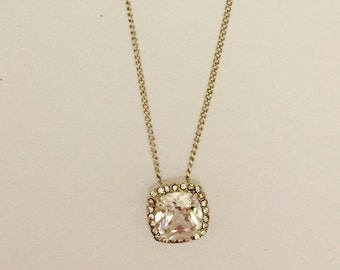 Pave Halo Cubic Zirconia Necklace