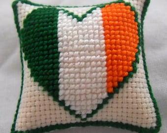 Hand Stitched Dolls House Cushions Cross Stitch 1/12th scale Love Ireland Design