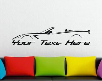 Large Custom car silhouette wall sticker - for Chevrolet Corvette C7 convertible