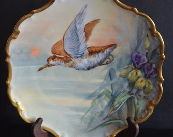 Limoges Porcelain Hand Painted Flambeau Game Bird Plate Artist Signed