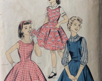 Advance 8389 dress or jumper and blouse size 14 1/2 size 14.5  bust 35 vintage 1950's sewing pattern