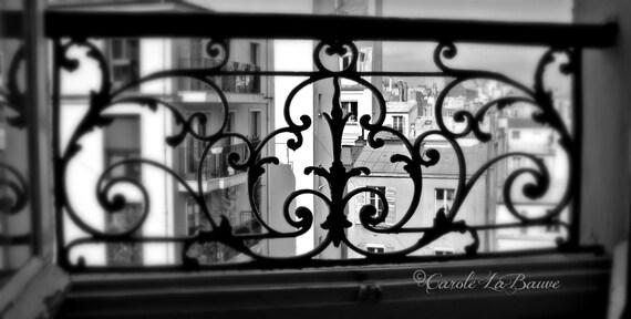"PARIS TRAVEL PHOTOGRAPHY ~ Paris Balcony Ironwork ~ Wrought Iron Grill ~ Black and White Fine Art Photography ~ 12x18 ~ ""I Love Paris""Series"