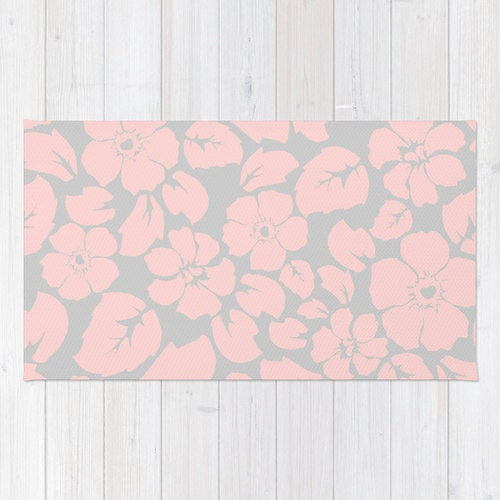 Pink And Gray Floral Area Rug 2x3 Rug Kids Room Rug 3x5 Rug