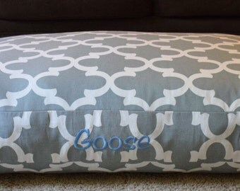 Gray Dog Bed Quatrefoil || Extra Large Personalized Custom Pet Pillow Cover || Puppy Gift by Three Spoiled Dogs