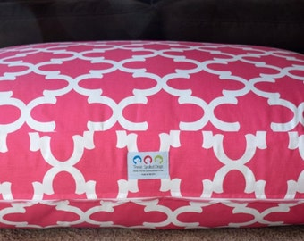 Hot Pink Quatrefoil Dog Bed || Extra Large Personalized Pets Cover || Custom Puppy Gify by Three Spoiled Dogs