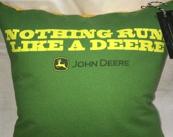 John Tractor green and yellow T-Shirt Pillow 16x16 Upcycled One of a Kind
