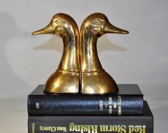 Solid brass Mallard duck bookends /mid century bookends/  Mallard duck statue/Mallard duck figure/brass art/ Mallard duck /bird statue/ducks