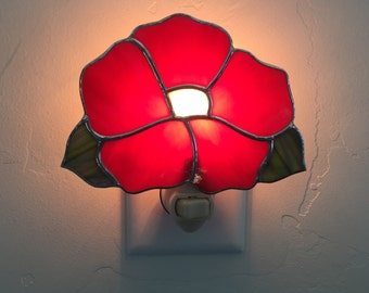 Stained glass red flower nightlight, stain glass red flower night light, nightlight