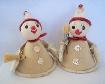 Vintage Snowman Decorations, Cardboard, Chenille, Papier Mache, Made In  Japan