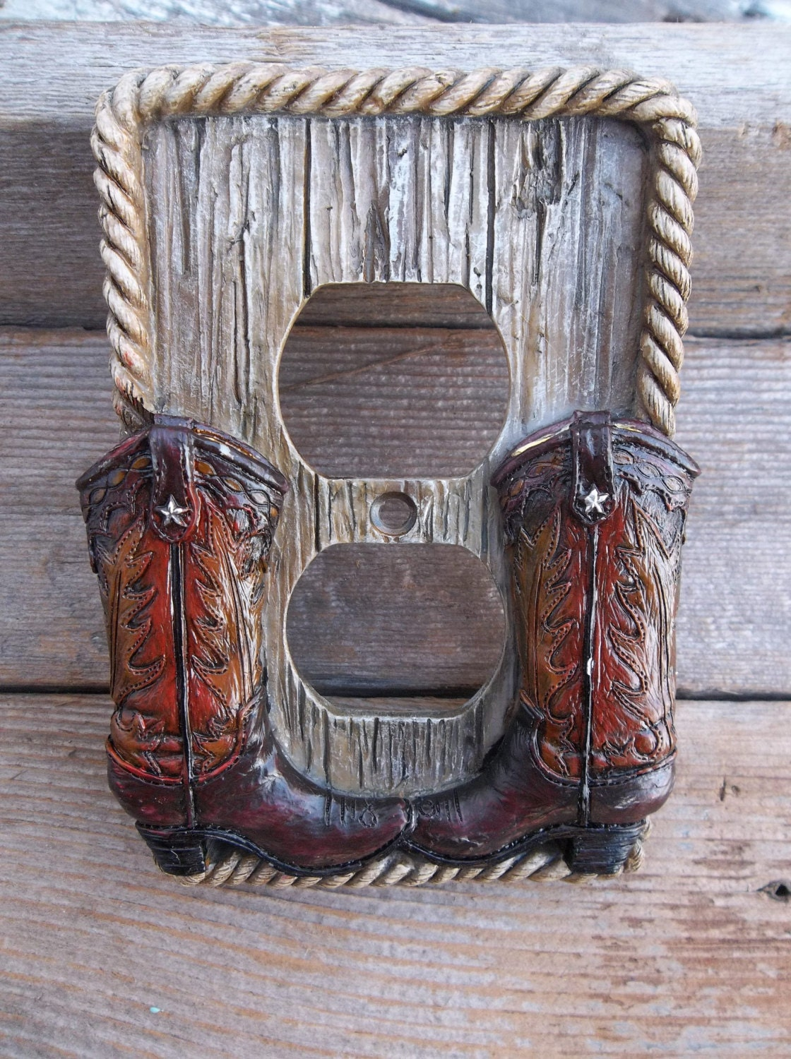 Country Man Cave Decor : Western outlet cover country room decor man cave cowboy boot