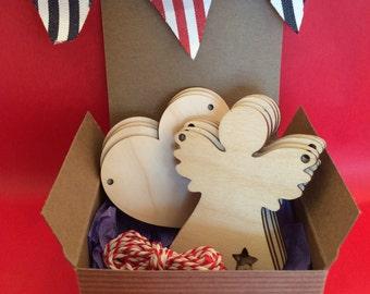 Wooden Bunting - Angel & Heart