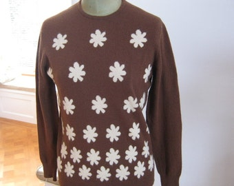 Womens intarsia cashmere vintage sweater