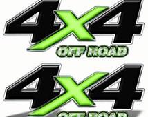 "4x4 Offroad Truck Bed Decals (set of 2)- 13"" wide each - Chevy Silverado GMC Sierra Dodge Ford Die Cut Logo Stickers Black Lt Green MK004OR4"
