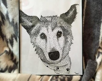 Stipple Sheltie with FREE frame