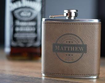 Dark Brown Leather Flask- Groomsman Flask- Personalized Flask- Personalized Groomsmen Flask- Leather Wrapped Flask- Personalized Hip Flask
