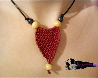 Red Crochet Necklace With Thread Wax And Beads