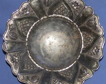 Vintage Metal Ornate Floral Footed Bowl